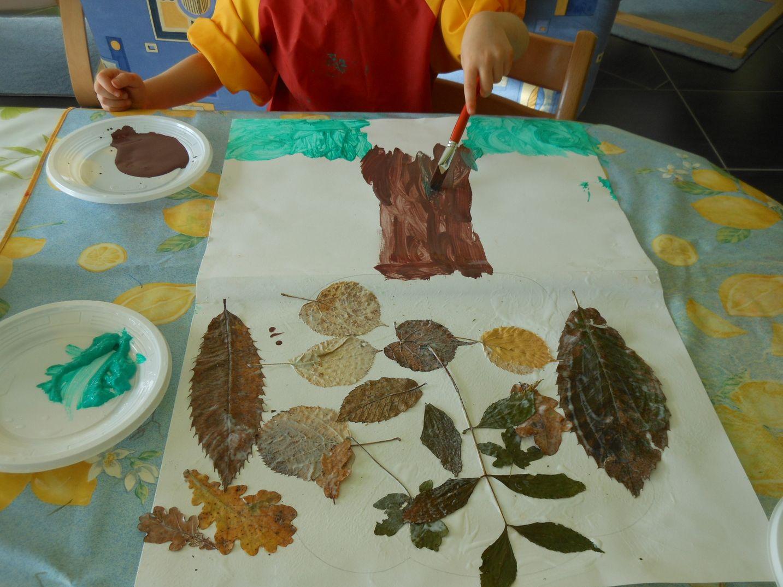 Activit d 39 automne collage de feuilles et peinture - Activite feuille d automne ...